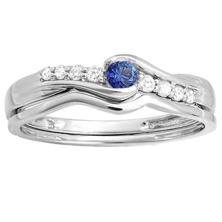 10k White Gold 1/4 ct Round Blue Sapphire and White Diamond Bridal Promise Engagement Wedding Set
