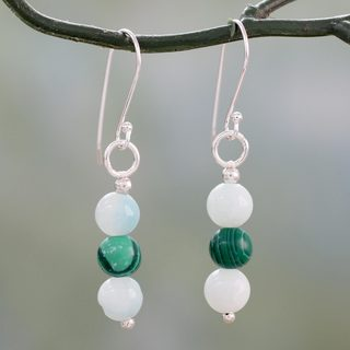 Handcrafted Silver 'Forest Mysteries' Amazonite Malachite Earrings (India)
