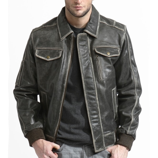Men's Brown Distressed Leather Bomber Jacket