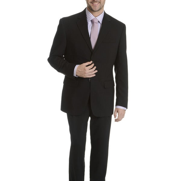 Park Row Men's Black Classic-fit All-wool Performance Suit