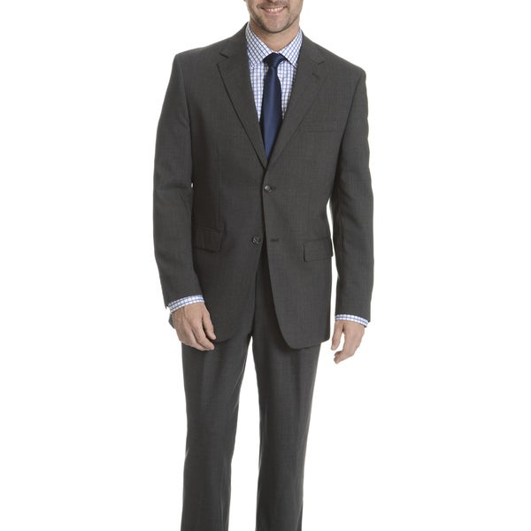 Park Row Men's Grey Classic Fit All-wool Performance Suit