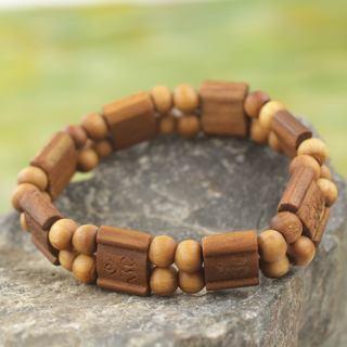 Handcrafted Sese Wood 'Brown Radiance' Bracelet (Ghana)