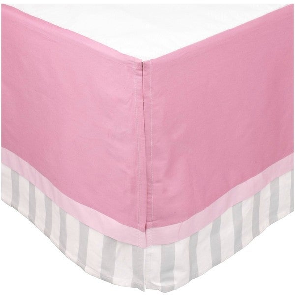 BreathableBaby Solid Pink/Grey Stripe Cotton Cribskirt