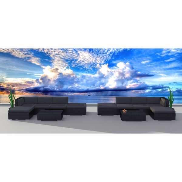 Urban Furnishing Black Series Black, Grey Aluminum, Polyester, Wicker Outdoor Patio Sofa Sectional Couch Set