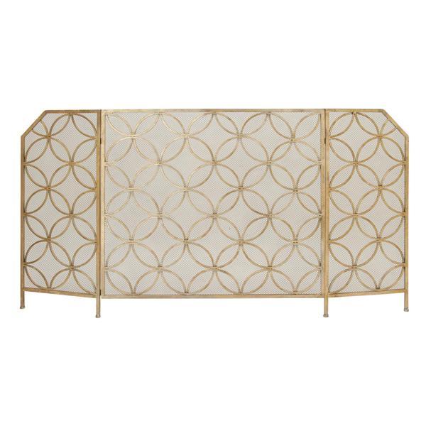 Metal 63-inch x 34-inch 3-panel Fireplace Screen