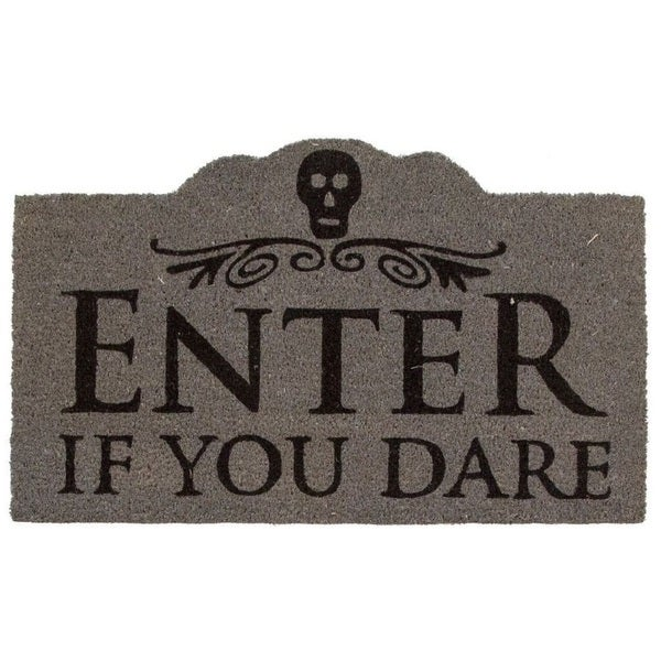 Enter If You Dare Black/Grey Coir Non-slip Doormat