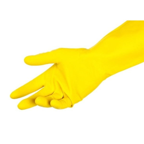Yellow Flocklined Latex Polymer-coated Chlorinated Household Gloves (Pack of 12)