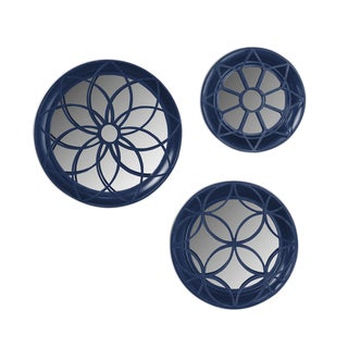 Solid-colored Round Decorative 3-piece Wall Mirror Set