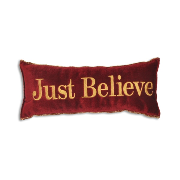 Red Velvet Polyester 6-inch x 14-inch 'Just Believe' Throw Pillow