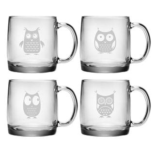 Owl Collection Glass 13 oz. Coffee Mug (Set of 4)