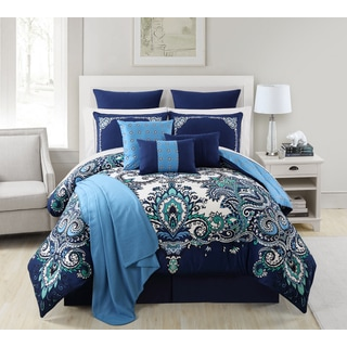 VCNY Istanbul Blue 16-piece Bed in a Bag Comforter Set