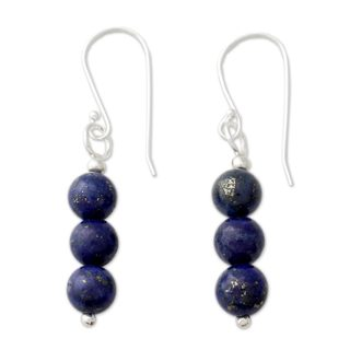 Handcrafted Sterling Silver 'Blue Mysteries' Lapis Lazuli Earrings (India)