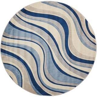 Nourison Somerset Ivory Blue Rug (5'6 Round)