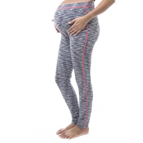 Soho Apparel Women's Maternity Space Dye Black, Blue Nylon, Polyester, Spandex Leggings