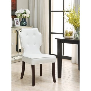 Iconic Home Lennon Leather Button-tufted Turned Wooden Leg Dining Chair (Set of 2)