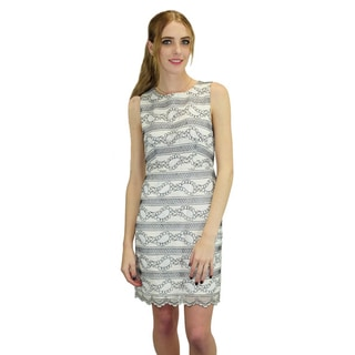 Relished Women's Cotton and Polyester Row Lace Shift Dress