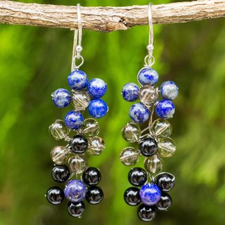 Handcrafted Sterling Silver 'Royal Blossoms' Multi-gemstone Earrings (Thailand)