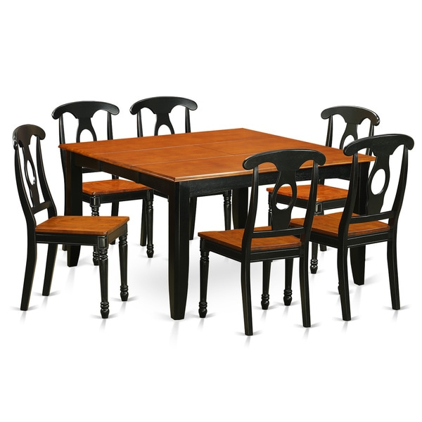 PFKE7-BCH Solid Wood 4-chair 7-piece Dining Room Table Set