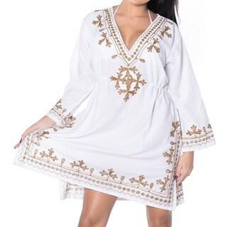 La Leela EMBROIDERED TOP RAYON SWIMSUIT V Neck Bikini Cover up TUNIC Kaftan White Brown