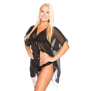 La Leela Women's 2-in-1 Sheer Solid Black Chiffon with Tassels Plus-Size Open Bikini/Swimsuit Casual Cover Dress