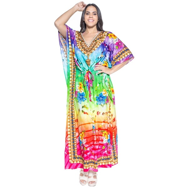 La Leela Soft Likre Floral Strings Beachwear Casual Night Long Maxi Kaftan Green