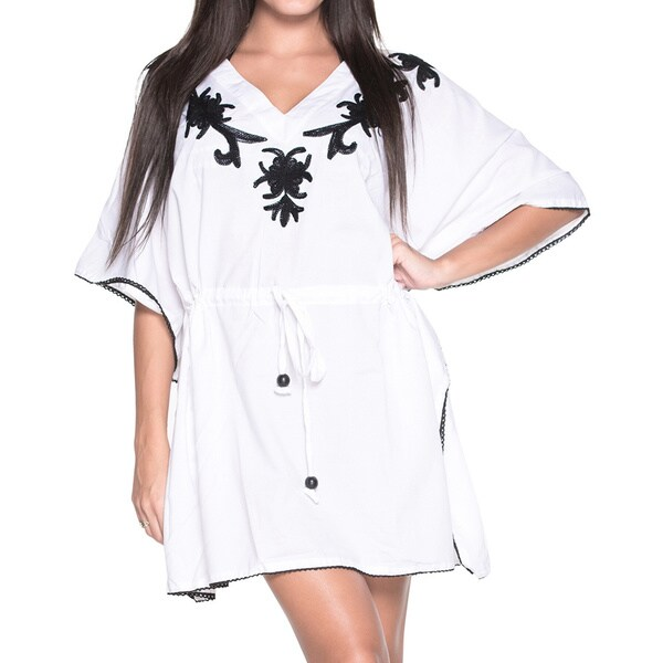 La Leela Bikini Cover up Kimono Embroidered SOFT Rayon Bikini Swimwear Tunic Beach Dress White