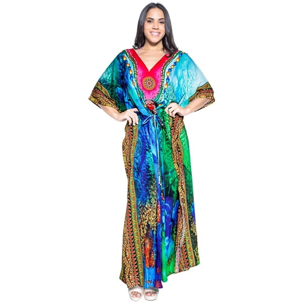 La Leela Smooth Likre Digital Rose Kimono Long Evening Dress Kaftan Maxi Blue