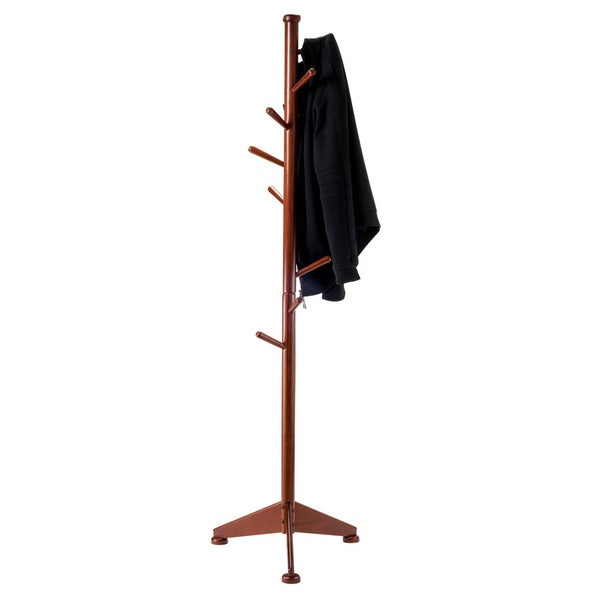 Winsome Lily Wooden Walnut Finish 9-peg Coat Stand