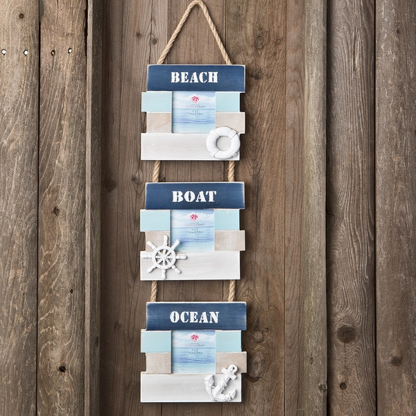 Wood Beach Boat and Ocean Triple Hanging Frame