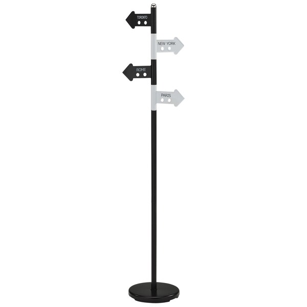 Waze Black and White Metal Coat Rack
