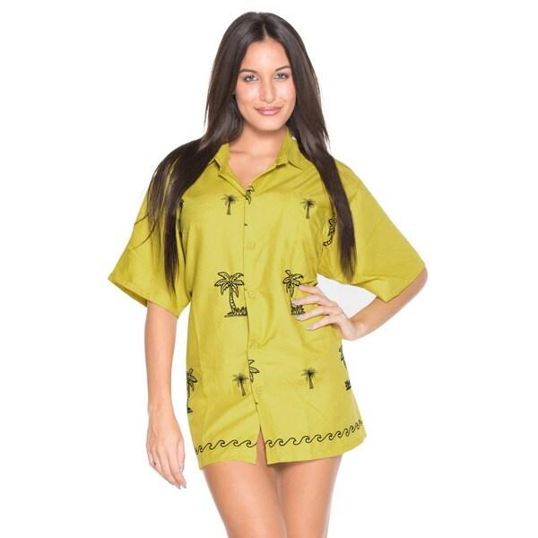 La Leela Women's Green Black Palm Tree Rayon Button-down Shirt