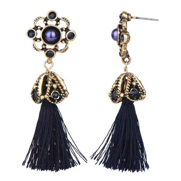 Antique Blue Tassel Dangle Earrings