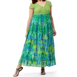 La Cera Women's Plus Size Solid Lace Printed Maxi Dress
