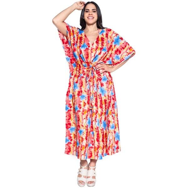 La Leela Soft Likre Beachwear Hibiscus Fern Long Casual Dress Kaftan Maxi Red