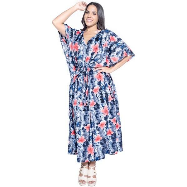 La Leela Soft Likre Beachwear Hibiscus Fern Long Casual Dress Kaftan Maxi Black