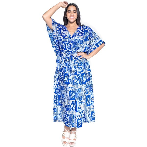 La Leela Soft Likre Turtle Kimono Long Beach Women Long Dress Kaftan Maxi Blue