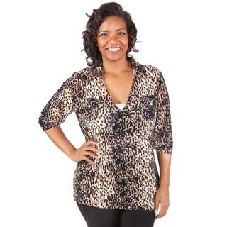 Hadari Women's Plus Size Overlapped V-Neck Leopard Blouse