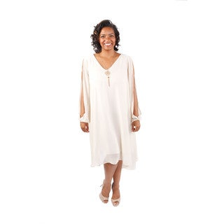 Hadari Women's Plus Size Long Sleeve Trapeze Dress