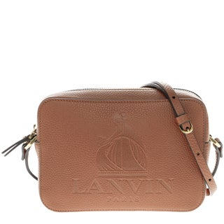 Lanvin Small Embossed Logo Top-Zip Grained Leather Camera Bag with Gold Hardware