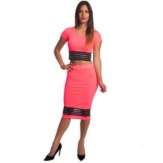 Special One Women's Bodycon Cotton and Polyester 2-piece Crop Top and Mini Skirt Outfit