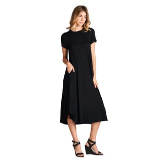 Spicy Mix Women's Aurelia Rayon Jersey Short Sleeve Midi Dress with Pockets