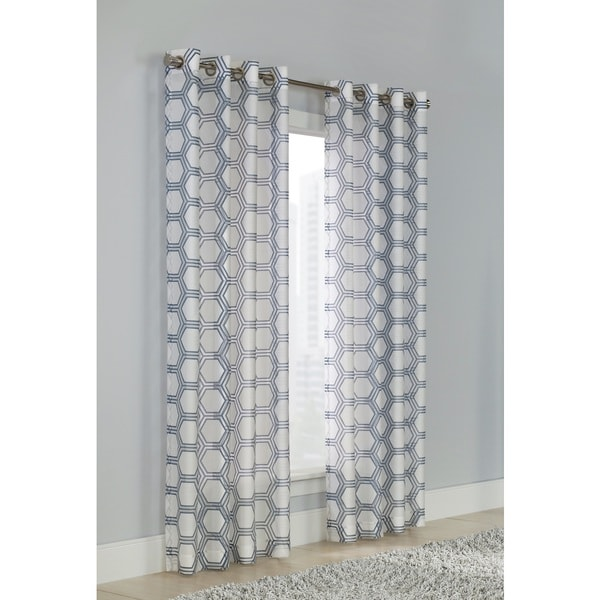 Madison Blue/White Sheer Geometric Grommet-top Curtain Panel