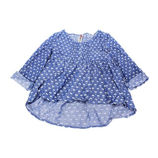 Blue Beautees Girl's Blue Cotton Solid Top