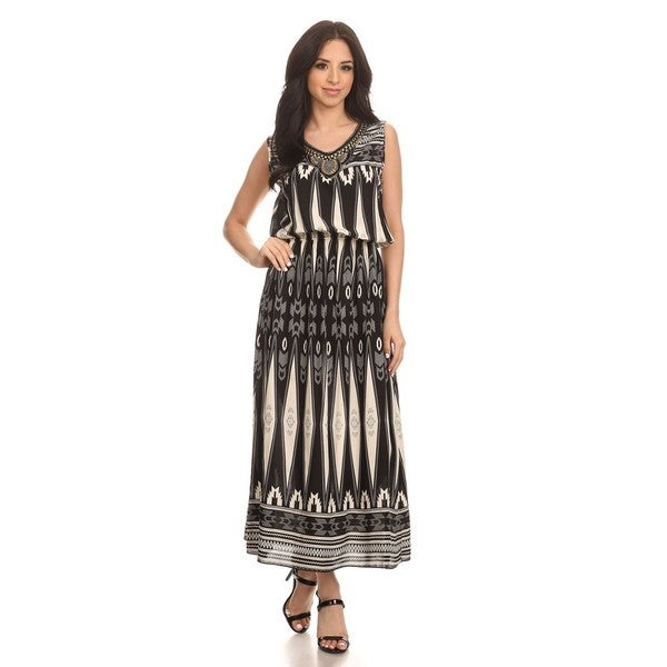 High Secret Women's Black Cotton, Polyester Sleeveless Geometric Maxi Dress