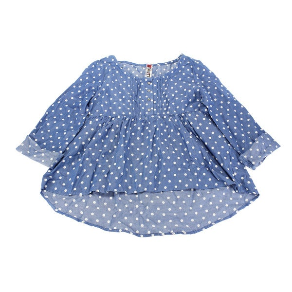 Beautees Girl's Blue Cotton Polka-dot Top