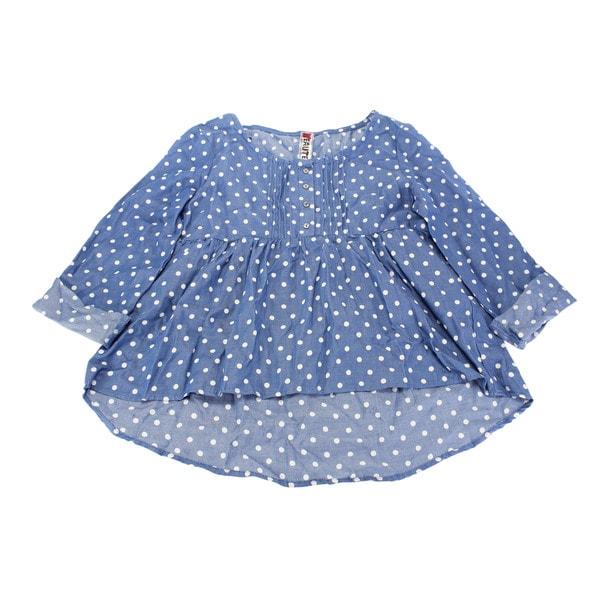 Beautees Girl's Blue Cotton Polka-dot Top