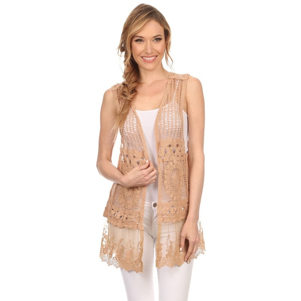 High Secret Women's Cotton Lace Crochet Open Front Vest