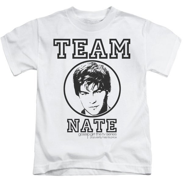 Gossip Girl/Team Nate Short Sleeve Juvenile Graphic T-Shirt in White