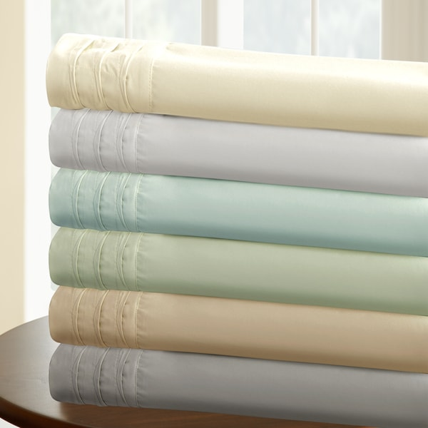 1000 Thread Count Cotton Rich 4-Piece Solid Sheet Set With Pintuck Hem