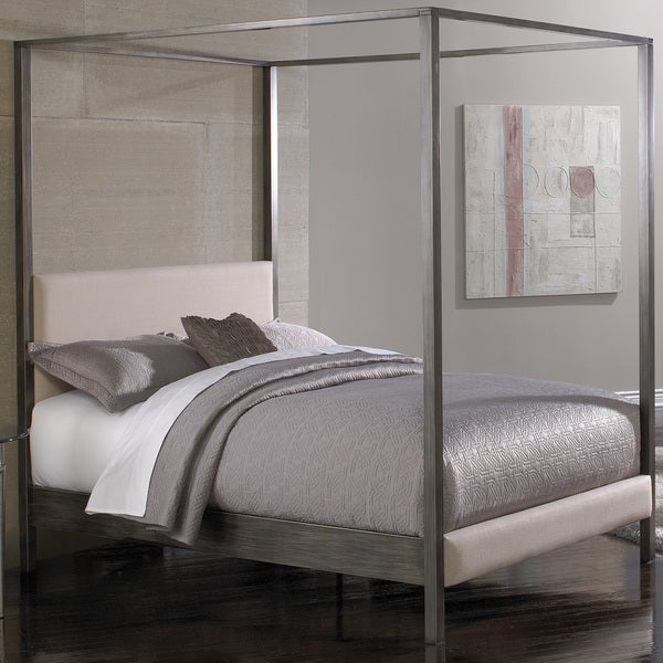 Avalon Platform Slate Finish Canopy Bed with Platinum Upholstered Headboard and 80-inch Bed Posts